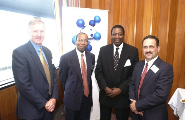 (left-right) Dr. R Stumpf, SASOL Gen. Man., Dep. Min. M Mangena, Prof WA Olivier